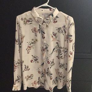 H&M Bird Print Cream Blouse
